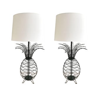 1950s Mid-Century Modern Black Iron Pineapple Lamps - a Pair
