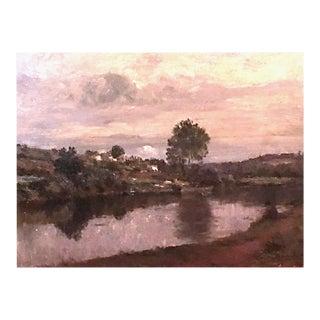 Matthijs Maris [1872-1929] Dutch Impressionist Landscape Painting Figure by the Lake 1919 For Sale