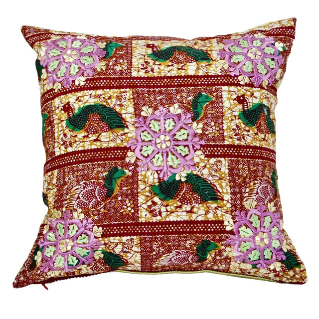 African Rabati Embroidery Throw Pillow For Sale