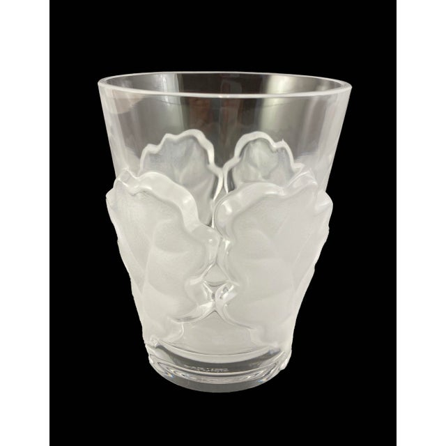 Mid-Century Modern Vintage Lalique Chene Double Old Fashioned Whiskey Glass, Signed For Sale - Image 3 of 7