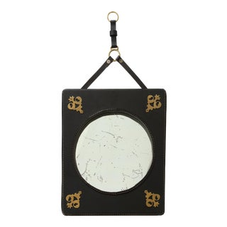 Stitched Leather Mirror by Jacques Adnet For Sale