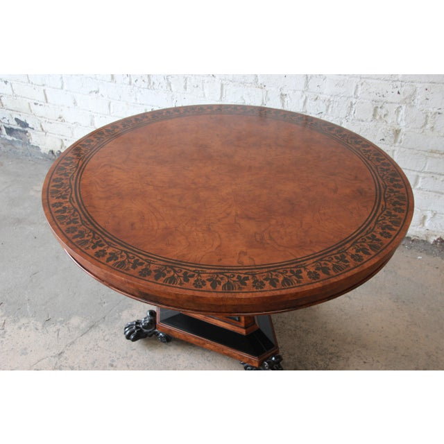 Baker Furniture Stately Homes Collection Burl Ash Regency Center Table For Sale - Image 9 of 12