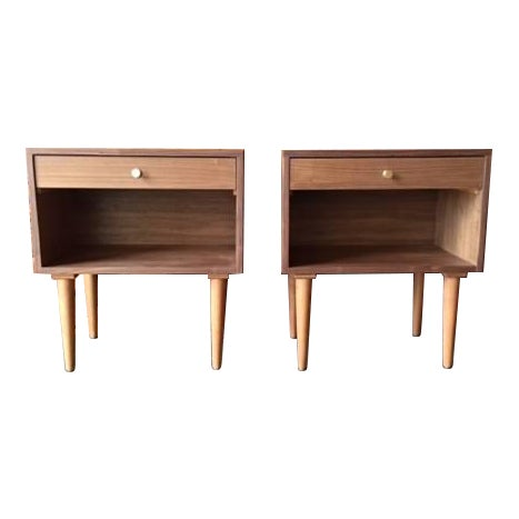 Custom Mid Century Style Walnut Nightstands - a Pair For Sale