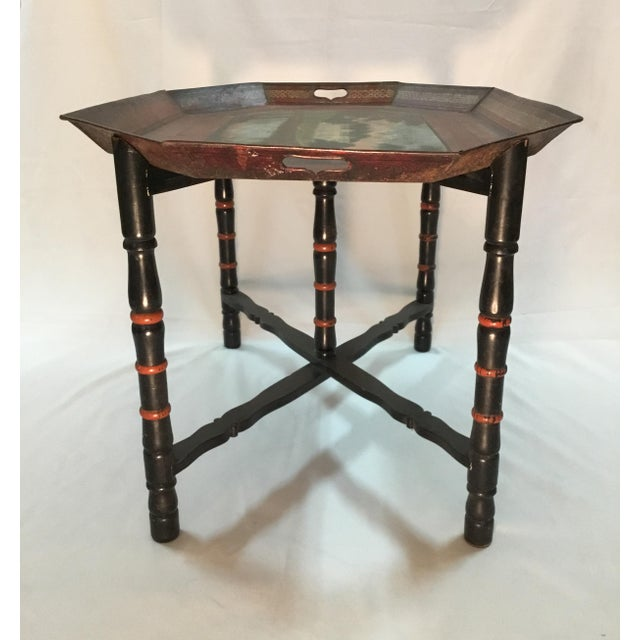 19th C. Scenic Hand Painted Tole Tray Table For Sale - Image 10 of 13