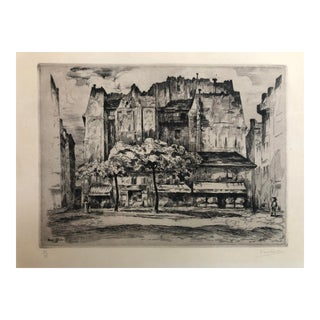 """Rue St Andre Des Arts"" Etching by Ernest Laborde 1926 For Sale"