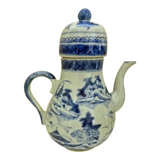 Early 19th Century Antique Chinese Export Canton Blue and White Coffee Pot For Sale