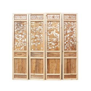 Carved Lotus Pond Panels - Set of 4 For Sale