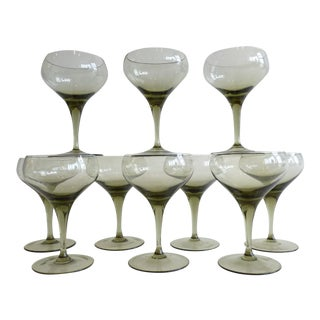 Vintage Smoked Glass Champagne Coups- Set of 10