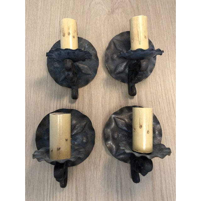 Metal Vintage 1940s Spanish Style Wall Sconces - Set of 4 For Sale - Image 7 of 7