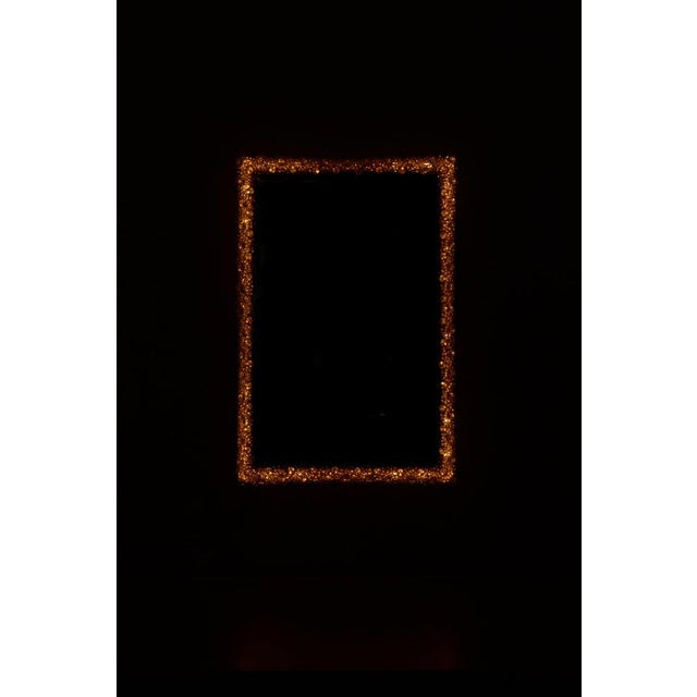 Gold Outstanding Square Illuminated Palwa Crystal Glass Mirror, Model S100w For Sale - Image 8 of 11
