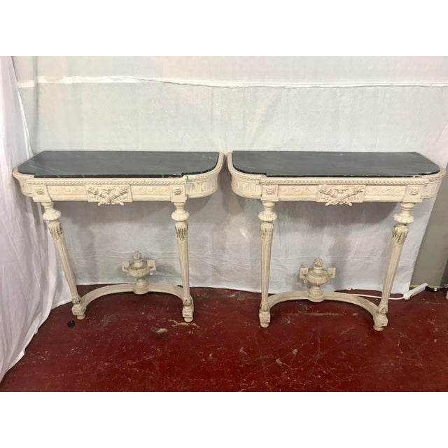 Louis XVI Style Painted Consoles a Pair For Sale - Image 13 of 13