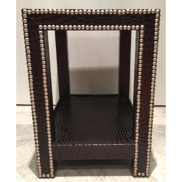 Crocodile-Embossed Leather Side Table - Image 5 of 10