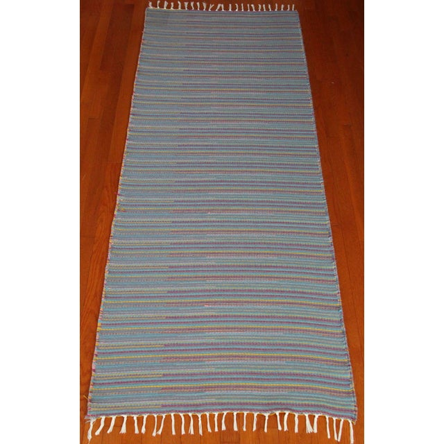 "Flat Weave Wool Striped Blue Kilim Rug - 2'8"" x 7'6"" - Image 2 of 10"