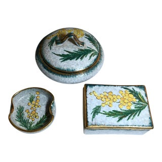 Italian Pottery Pieces, Lidded Boxes & Ashtray - Set of 3 For Sale