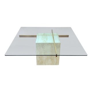 1970s Hollywood Regency Artedi Travertine and Brass Glass Topped Cocktail Table For Sale