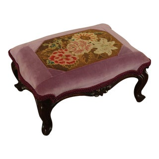 Antique Victorian Walnut Foot Stool For Sale