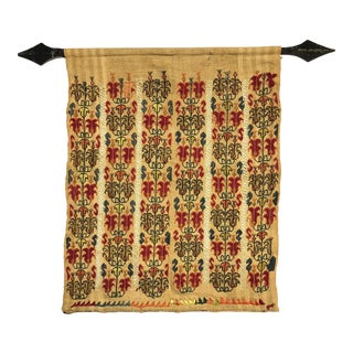 Antique Hand-Embroidery on Linen Textile Wall-Hanging