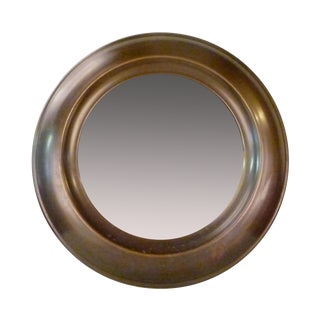 Large Round Mid-Century Brass Mirror For Sale
