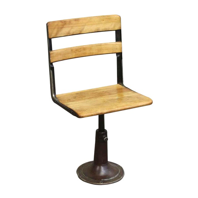 Heywood Wakefield Stool With Iron Base For Sale