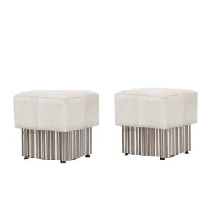 Set of 2 Cream Leather Ottoman, Living Room, Bedroom, Comfortable Footrest, Contemporary Look- Stainless Steel For Sale