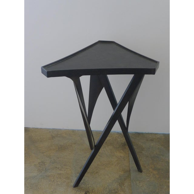 Contemporary Paul Marra Triangular Steel Side Table For Sale - Image 3 of 7