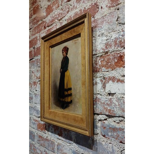 Black Leon Bonnet 19th Century Portrait of an Italian Woman Oil Painting C. 1871 For Sale - Image 8 of 10