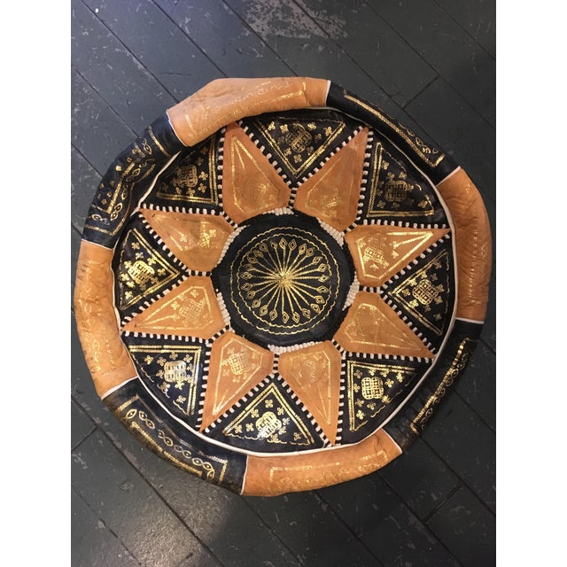 Gold Embroidered Light Leather Moroccan Pouf For Sale - Image 5 of 5
