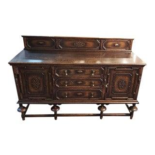 English Oak Jacobean Style Sideboard C.1920s For Sale