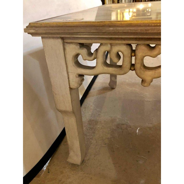 White Distressed Mirror Glass Top Squared Asian Style End Tables Stamped Jansen, Pair For Sale - Image 8 of 13