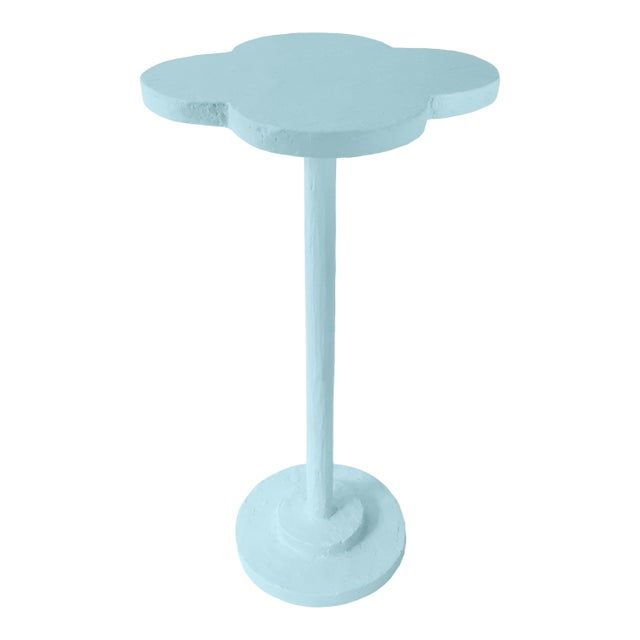 Contemporary Atrium Accent Table in Blue Stream For Sale - Image 3 of 3