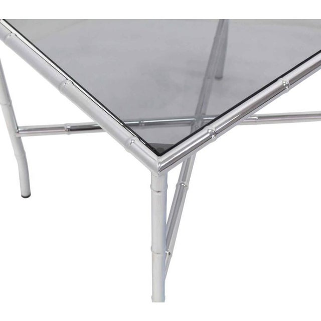 Sophisticated Chrome Faux Bamboo Smoked Glass Top Side Or Coffee - Bamboo end table glass top