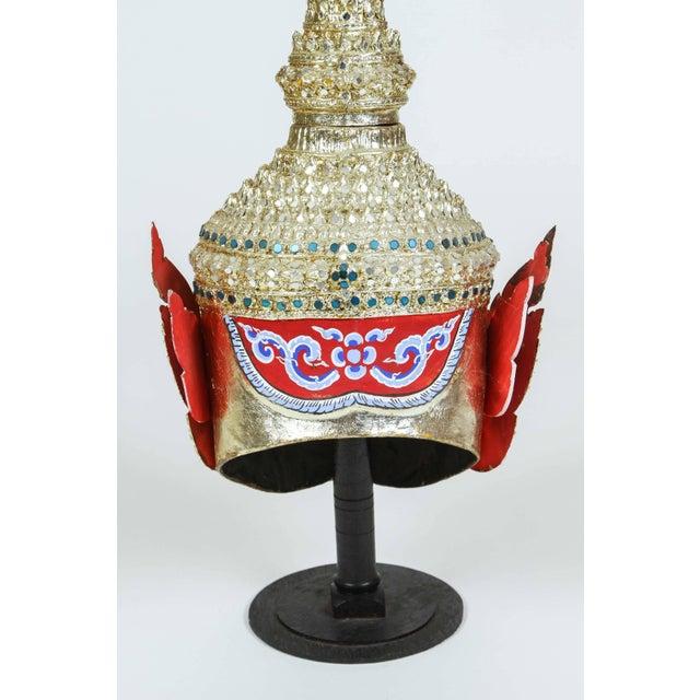 Green Gilt Thai Demon Mask Dance Headdress Crown For Sale - Image 8 of 9