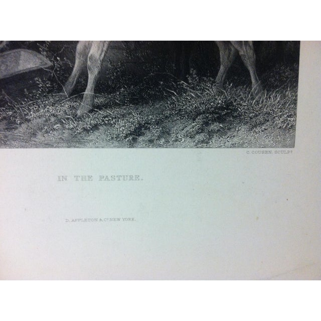 """English Antique Print on Paper, """"In the Pasture"""" by C. Cousen, Circa 1880 For Sale - Image 3 of 5"""