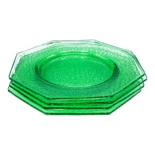 Vintage Depression Era Set of 4 Light Green Octagonal Glass Plates by L E Smith in the by Cracky Pattern For Sale