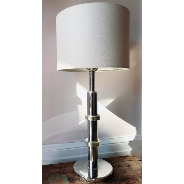 1970s Mid Century Modern Chrome and Brass Ring Table Lamp For Sale - Image 5 of 5