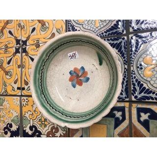 Vintage Mexican Ceramic Pozole Bowl Hand Painted Spiral Flower Petal Design Preview
