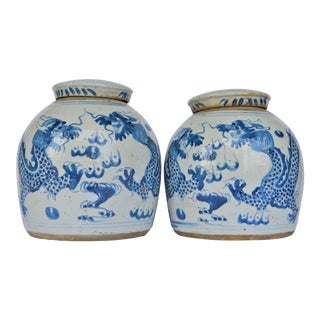 Vintage Chinoiserie Dragon Blue and White Ginger Jar, a Pair For Sale
