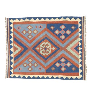 Vintage Afghan Kilim Rug With Navajo Two Grey Hills Style - 05'01 X 06'05 For Sale