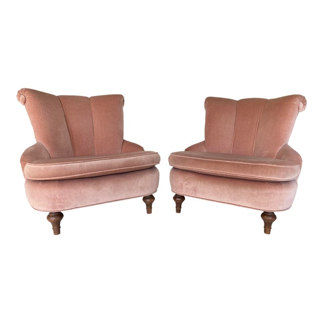 1940's Vintage Pink Easy Lounge or Slipper Chairs in Velvet - a Pair For Sale