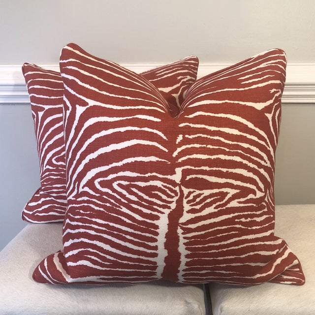 "Linen Brunschwig & Fils ""Le Zebre"" in Red 22"" Pillows-A Pair For Sale - Image 7 of 7"