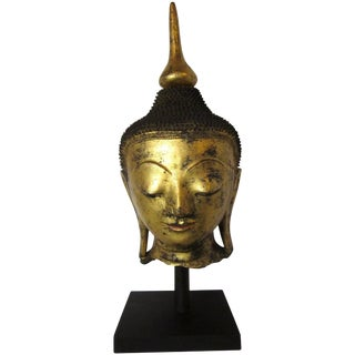 Early 20th Century Antique Burmese Shan State Buddha Head For Sale