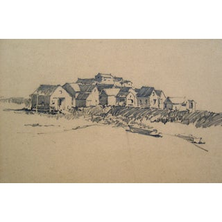 Seaside Village Pencil Study For Sale