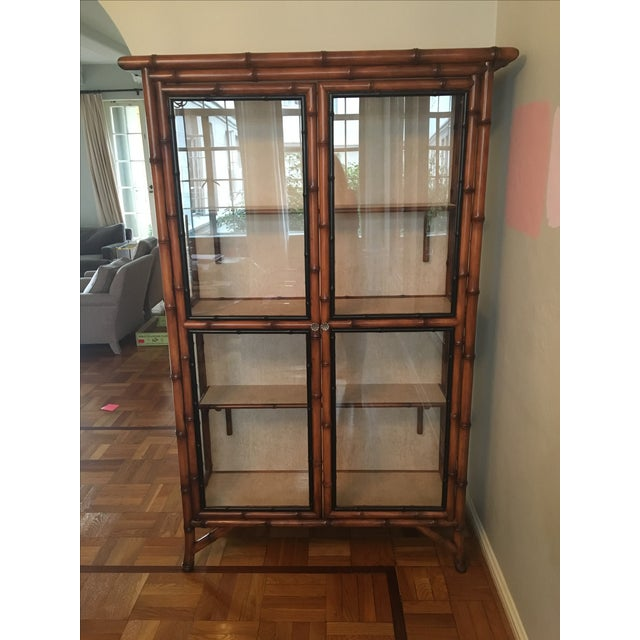 Chinoiserie Faux Bamboo China Cabinet - Image 2 of 6