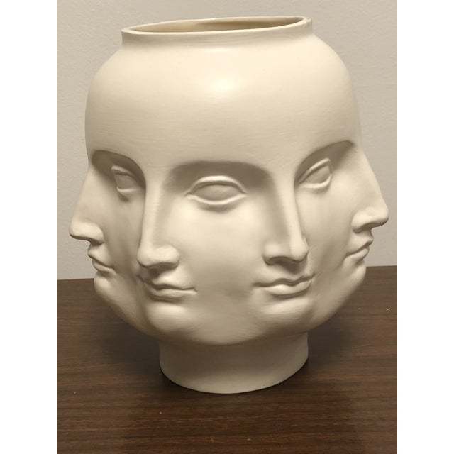 Handmade ceramic matte white perpetual face vase. Can be used for decor or as a planter or vessel for flowers. Similar in...