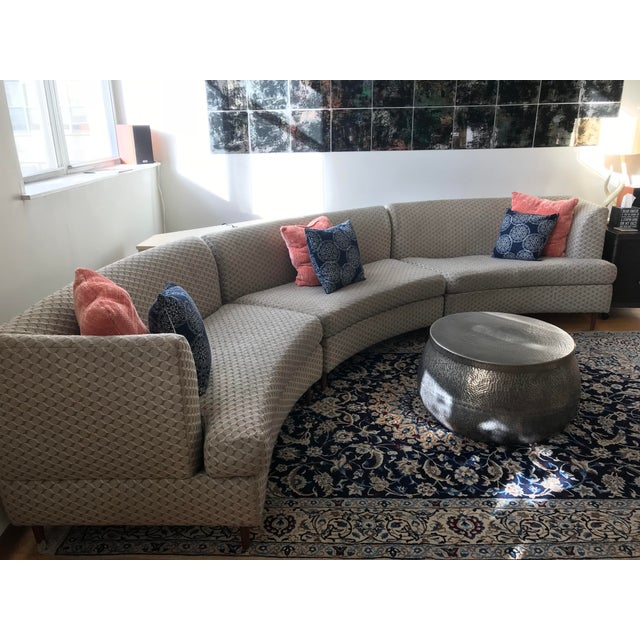 Textile Curved Keller-Williams Vintage Mid Century Sectional Sofa - 3 Pieces For Sale - Image 7 of 9
