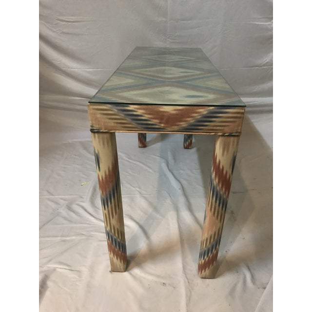 Mid-Century Modern Vintage Upholstered Parsons Console Table For Sale - Image 3 of 13