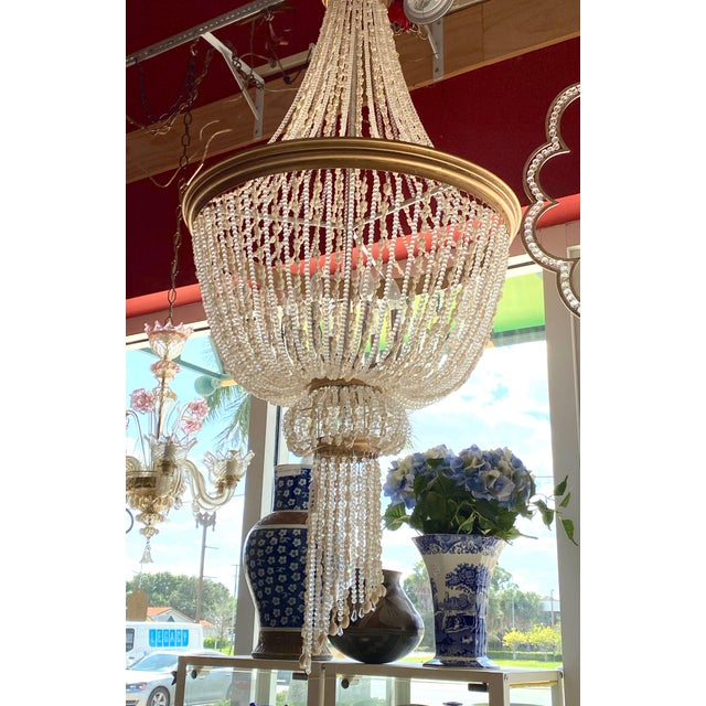 """Early 21st Century French 64"""" Crystals and Shells 9 Light Coastal Chandelier For Sale - Image 5 of 13"""