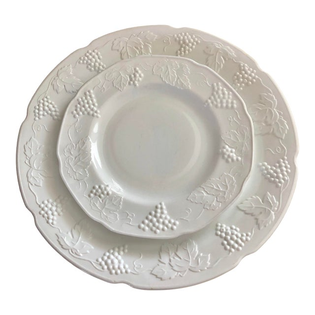 1950s Harvest Milk Glass Torte & Serving Plates by Colony - a Pair For Sale