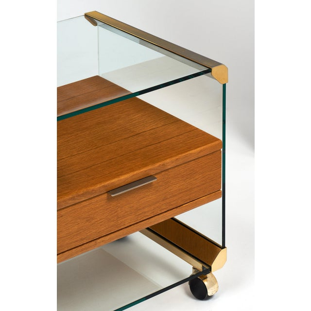 Brass and Glass Modernist Side Table For Sale - Image 4 of 10
