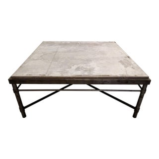 Hand-Made Stone Top Iron Cocktail Table